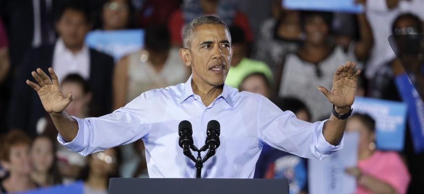 President Barack Obama speaks at a rally Sunday, Oct. 23, 2016, in North Las Vegas, Nev.