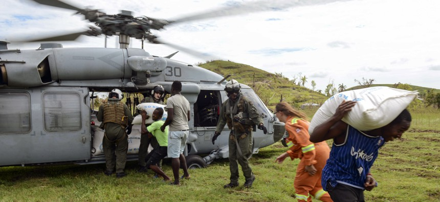 """""""Engagement"""" can take many forms, including operations like Joint Task Force Matthew, which provided disaster relief and humanitarian aid to Haiti following Hurricane Matthew."""