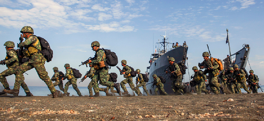 In April, U.S. and Philippine Marines conducted an amphibious landing using Philippine logistical navy ships as part of Exercise Balikatan 2016.