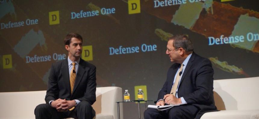 Sen. Tom Cotton, R-Arkansas, speaks with David Sanger of The New York Times at the Defense One Summit, November 17, 2016, in Washington.
