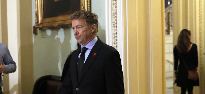 Sen. Rand Paul, R-Ky., arrives for a caucus organizing meeting to elect their leadership for the 115th Congress, Wednesday, Nov. 16, 2016, on Capitol Hill in Washington.