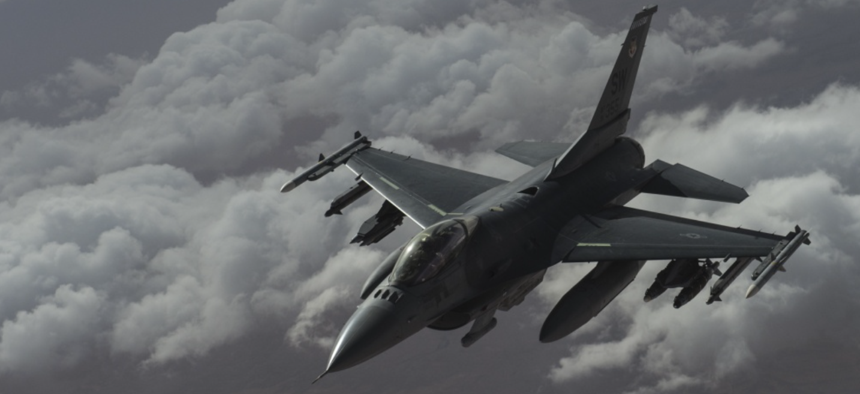 A U.S. Air Force F-16 Fighting Falcon flies over Iraq in support of Operation Inherent Resolve April 5, 2016.