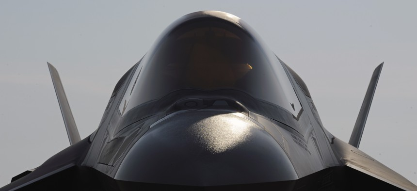 A Marine Corp F-35B Joint Strike Fighter sits near on a runway at Patuxent River Naval Air Station, Md., Friday, July 29, 2011