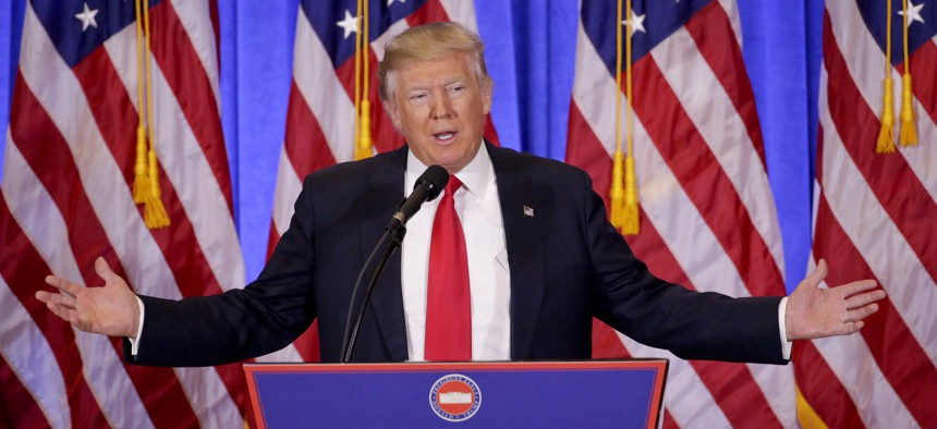 President-elect Donald Trump at a news conference, Jan. 11, 2017. It was his first as President-elect.