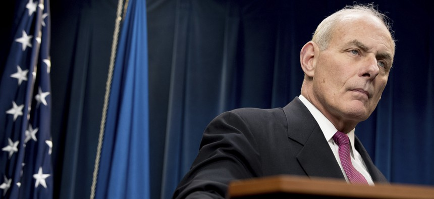 Homeland Security Secretary John Kelly pauses while speaking at a news conference at the U.S. Customs and Border Protection headquarters in Washington, Tuesday, Jan. 31, 2017