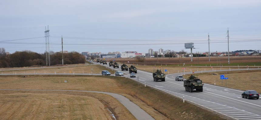 """A U.S. Army road march, known as """"Dragoon Ride,"""" as part of Operation Atlantic Resolve, in March 2015."""
