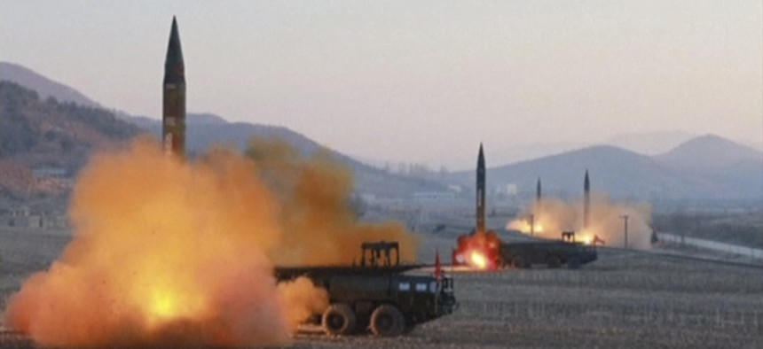 In this image made from video released by KRT on Tuesday, March 7, 2017, North Korea launches four missiles in an undisclosed location North Korea.