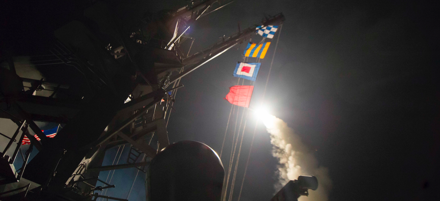 One of the first of the 59 Tomahawk cruise missiles the U.S. launched from the USS Ross and USS Porter in the Mediterranean at Shayrat Airfield in Syria.