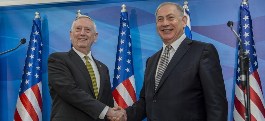 U.S. Defense Secretary Jim Mattis meets with Israel's Prime Minister Benjamin Netanyahu in Jerusalem on April 21.