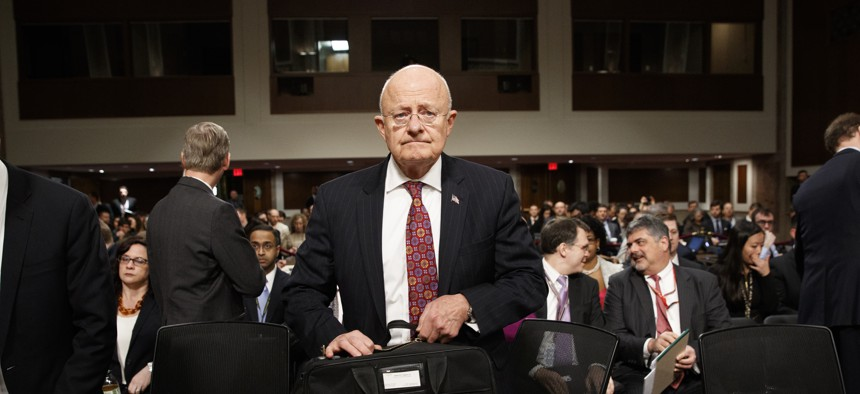 Director of National Intelligence James Clapper arrives on Capitol Hill in Washington, Thursday, Jan. 5, 2017.
