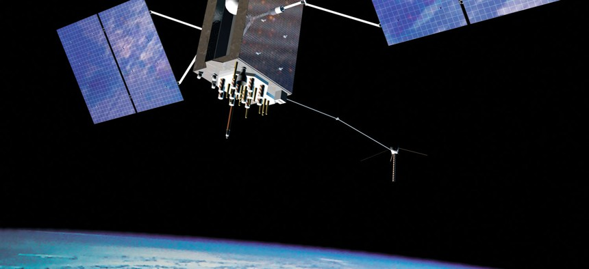 Artist's conception of a GPS III satellite in orbit