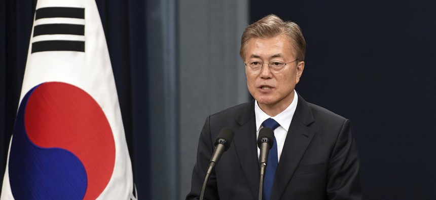 South Korea's new President Moon Jae-In disagrees with much of U.S. President Donald Trump's developing approach to North Korea.