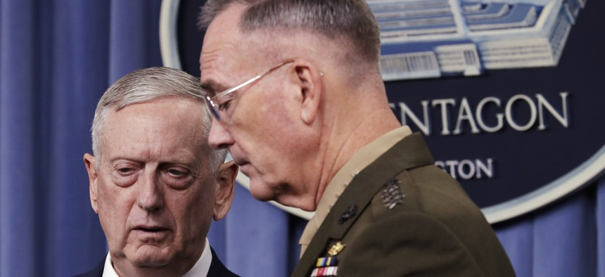 Defense Secretary Jim Mattis and Joint Chiefs Chairman Gen. Joseph Dunford Jr., lay out President Trump's ISIS war plans, at the Pentagon, Friday, May 19, 2017.