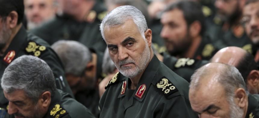 Revolutionary Guard Gen. Qassem Soleimani, center, attends a Sept. 2016 meeting with Supreme Leader Ayatollah Ali Khamenei and Revolutionary Guard commanders in Tehran, Iran.