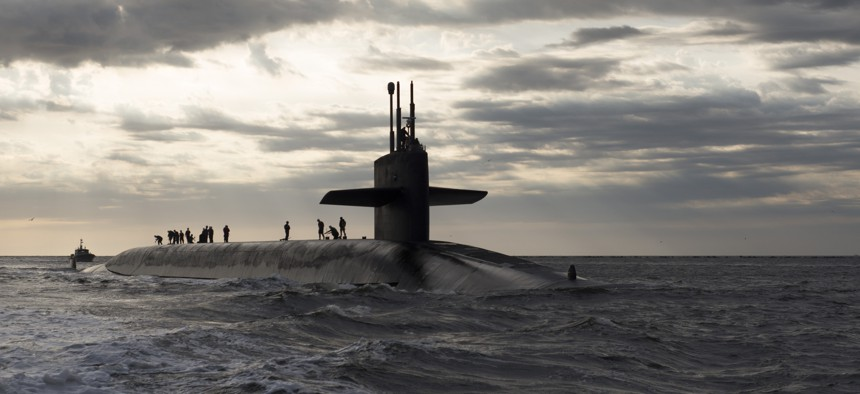The U.S. Navy's ballistic missile submarine Rhode Island, seen here in a 2013 photo, is among the nuclear-armed platforms covered by the New START Treaty with Russia.