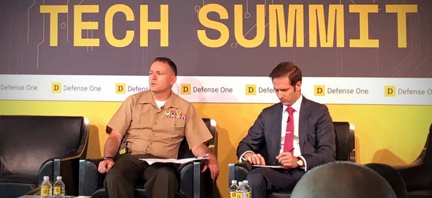 Col. Drew Cukor, Chief, Algorithmic Warfare Cross Function Team, ISR Operations Directorate, Warfighter Support, Office of the Undersecretary of Defense for Intelligence, speaks with Defense One's Marcus Weisgerber in Washington, D.C., on July 13.
