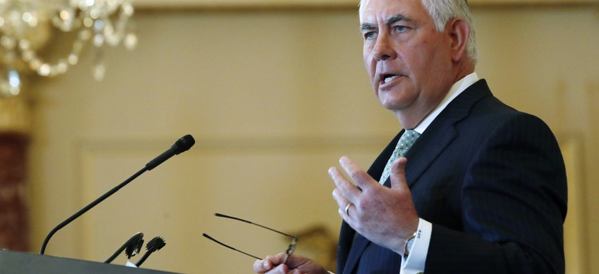 In this June 27, 2017, file photo, Secretary of State Rex Tillerson speaks at a 2017 Trafficking in Persons Report ceremony at the State Department in Washington.