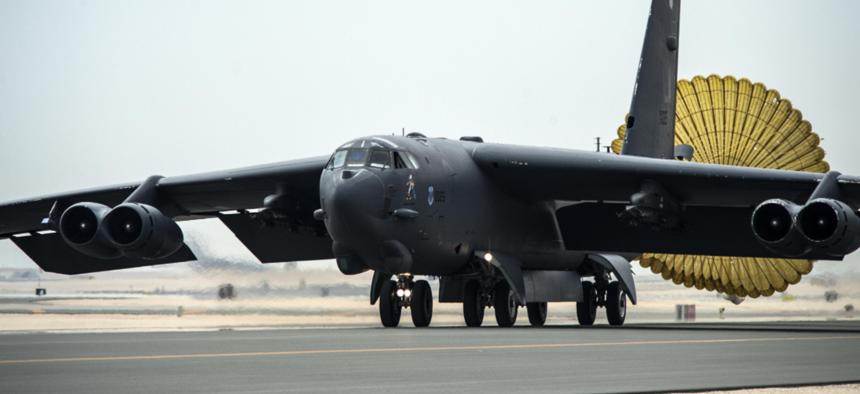 A U.S. Air Force B-52 Stratofortress arrives at Al Udeid Air Base, Qatar, April 9, 2016, for Operation Inherent Resolve.