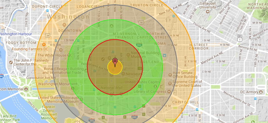 A depiction of what a 20 Kiloton bomb would do to Washington, DC