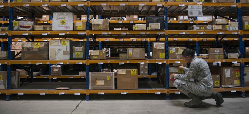U.S. Air Force Airman 1st Class Kiara Alexander inventories cargo in the supply warehouse Oct. 4, 2016, at Incirlik Air Base, Turkey.