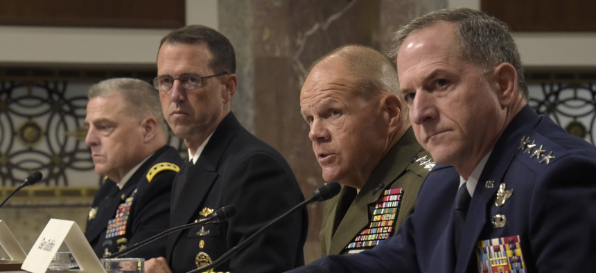 Marine Corps Commandant Gen. Robert B. Neller, second from right, sitting with, from left, U.S. Army Chief of Staff Gen. Mark Milley, U.S. Chief of Naval Operations Adm. John Richardson, and Air Force Chief of Staff Gen. David Goldfein, on Sept. 15, 2016.