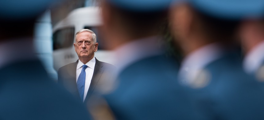 Secretary of Defense Jim Mattis meets with Ukraine's Defense Minister Stepan Poltorak in Kyiv, Ukraine, Aug. 24, 2017.