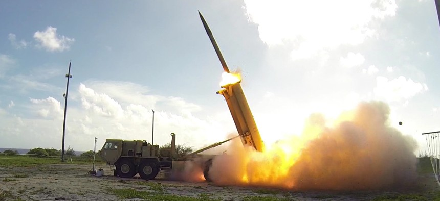 A Terminal High Altitude Area Defense (THAAD) interceptor is launched from a battery located on Wake Island during a Nov. 1, 2015 flight test..