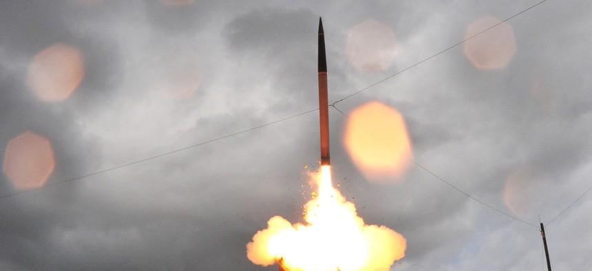 A Terminal High Altitude Area Defense launch test.