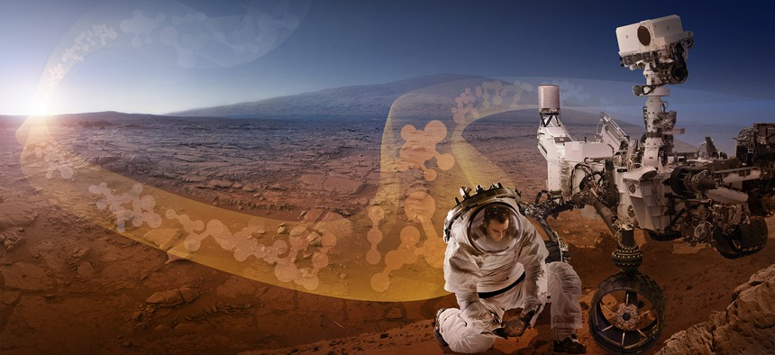 Artist's conception of exploration during a manned mission to Mars.
