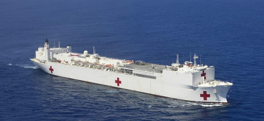 Hospital ship USNS Comfort (T-AH 20) pictured off the coast of San Juan, Puerto Rico, Oct. 6, 2017.