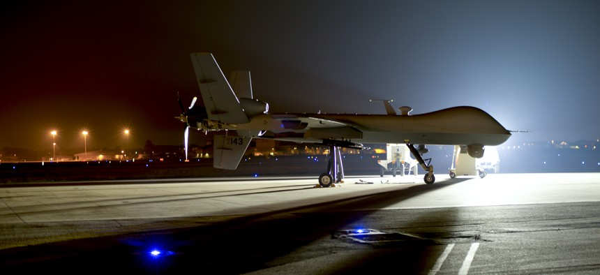 An MQ-9 Reaper sits on the flight line at Hurlburt Field Fla., April 24, 2014.