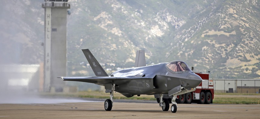 This Sept. 2, 2015, file photo shows an F-35 jet arriving at its new operational base at Hill Air Force Base in Utah. The U.S. and its Asia-Pacific allies are rolling out their new stealth fighter jet.