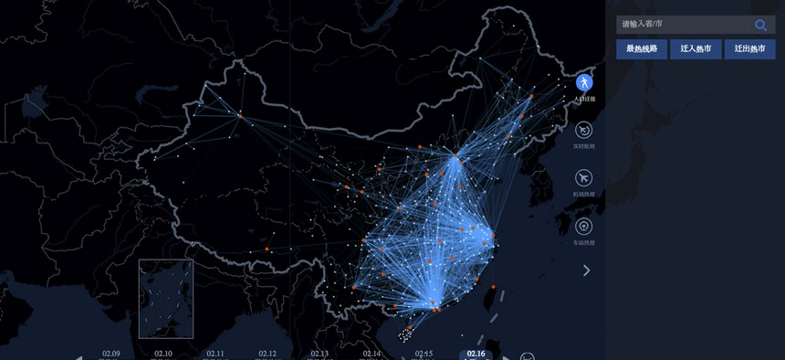 """In this image made on Monday, Feb. 16, 2015 from an interactive graphic from Baidu, the Chinese Internet portal, lines tracing the trips of individual travelers provide a """"heat map"""" of the massive migration home from the big cities."""