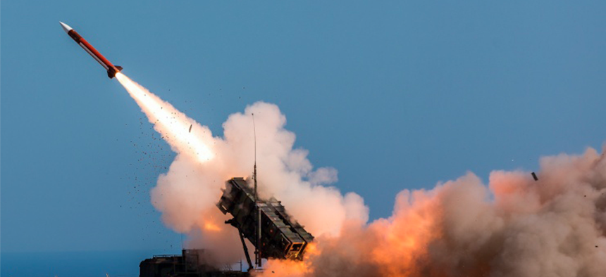 A Patriot missile is fired on Nov. 8, 2017, by German soldiers assigned to Surface Air and Missile Defense Wing 1 at the NATO Missile Firing Installation, in Chania, Greece.