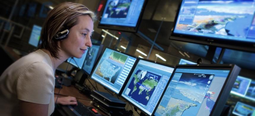 An employee at Lockheed Martin's NexGen Cyber Innovation and Technology Center.