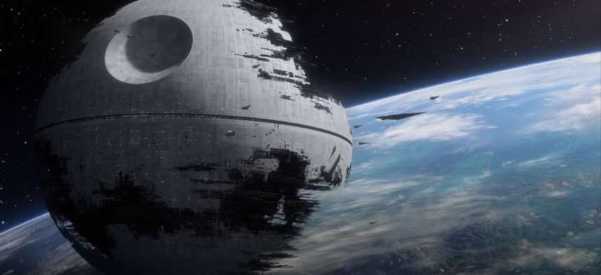 The second Death Star orbits the forest moon of Endor in a promotional image from the Star Wars Battlefront II game.
