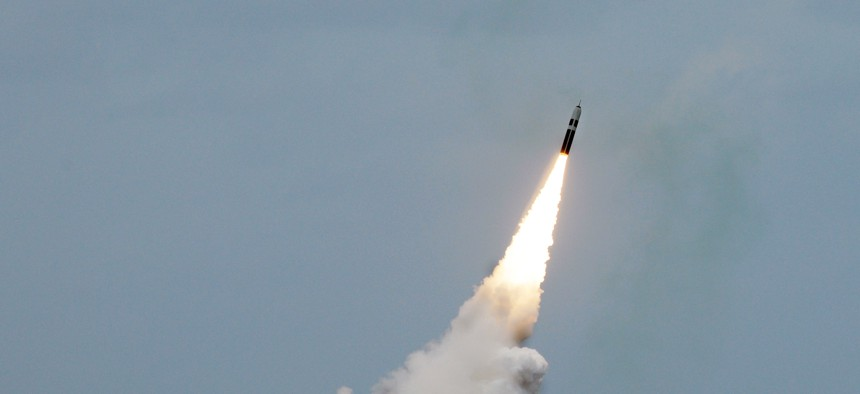 An unarmed Trident II D5 missile launches from the Ohio-class fleet ballistic-missile submarine USS Maryland (SSBN 738) off the coast of Florida, August 31, 2016.