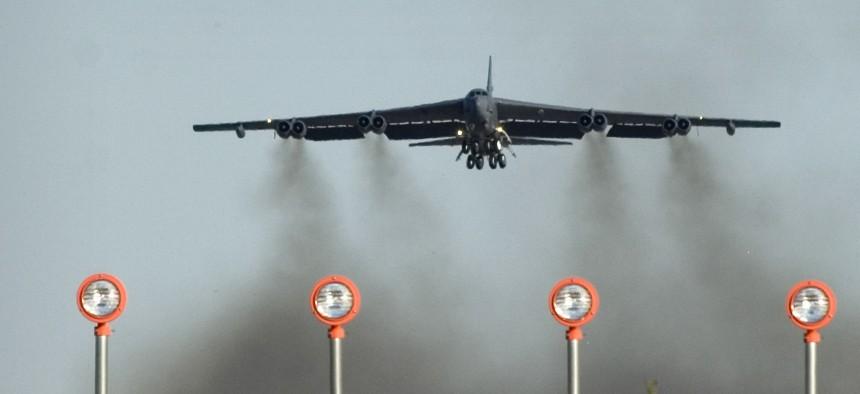 A B-52 Stratofortress at Minot Air Force Base, N.D.