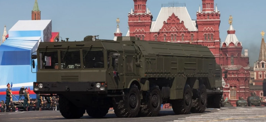 The new Russian missile, dubbed SSC-8, is thought to be a variant of the Iskander missile. Here, an Iskander launcher drives through Moscow's Red Square.