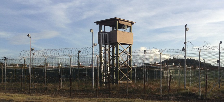 An unused guard tower at Camp Delta, one of the parts of the detention center at the U.S. Naval base at Guantanamo Bay, Cuba,Dec. 11, 2016.