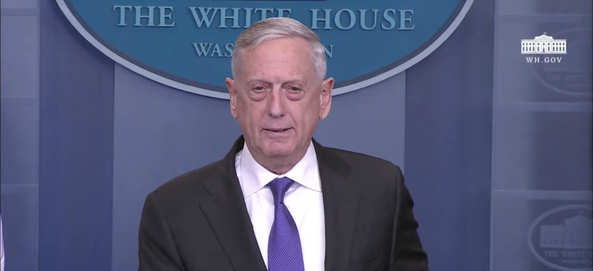 Defense Secretary James Mattis speaking at the White House Briefing Room, Feb. 7, 2017.