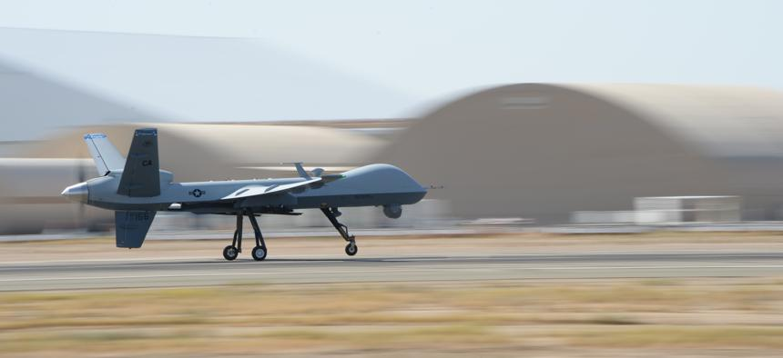 An MQ‐9 Reaper operates from the Southern California Logistics Airport in Victorville, Calif., July 30, 2014. The defense industry says it takes too long to get permission to sell such drones abroad.