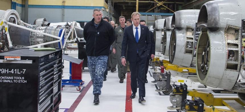 Deputy Defense Secretary Patrick Shanahan visits Naval Air Station Whidbey Island, Washington.