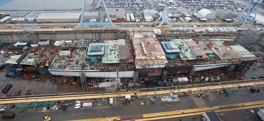 The aircraft carrier Gerald R. Ford (CVN 78), under construction at Huntington Ingalls Newport News Shipbuilding.