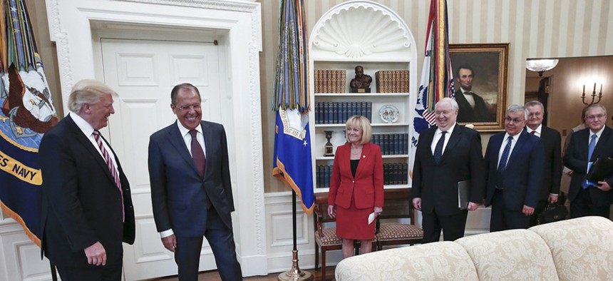 U.S. President Donald Trump meets with Russian Foreign Minister Sergey Lavrov, second left, at the White House in Washington, Wednesday, May 10, 2017.