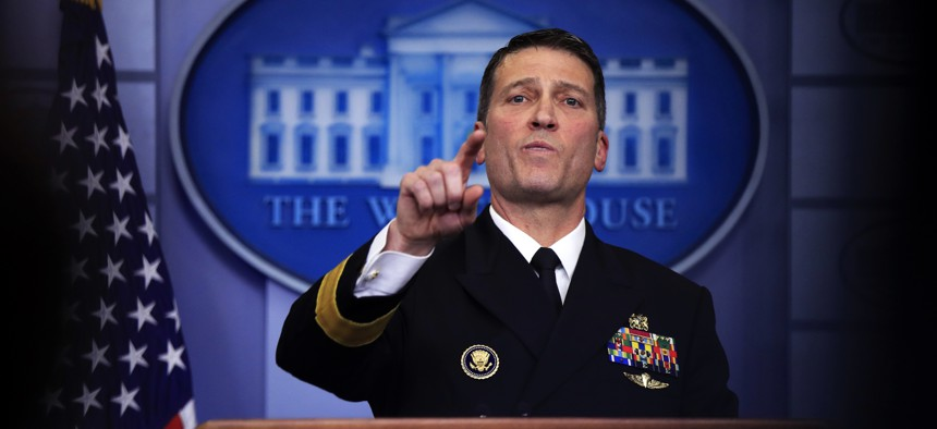 White House physician Dr. Ronny Jackson speaks to reporters at the White House Jan. 16, 2018.