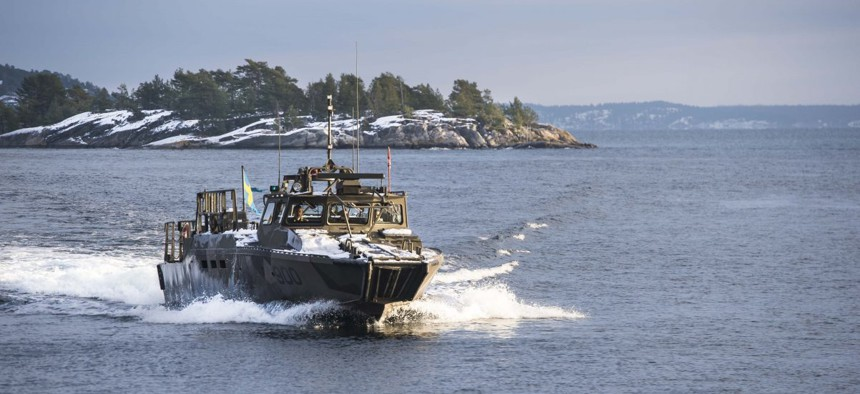 Swedish armed forces exercise against enemy submarines in 2016.