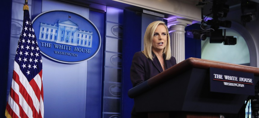 Homeland Security Secretary Kirstjen Nielsen, talks to reporters at the White House, in Washington, DC, on April 4, 2018.