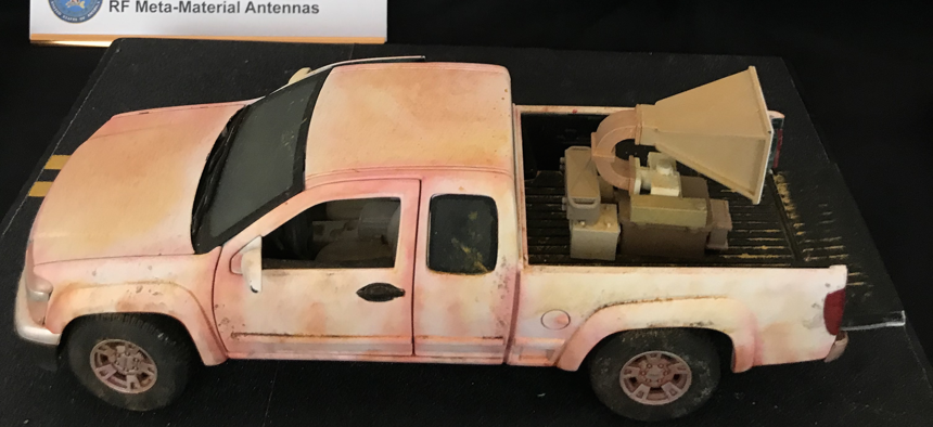 A model of the short-range radio frequency stopper under development to stop vehicle attacks, developed by JNLWD. Photo taken March, 2018.