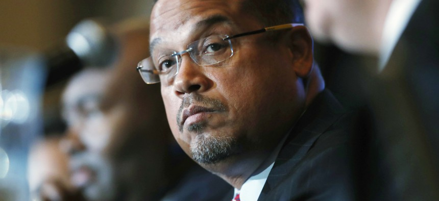 2016 photo of Rep. Keith Ellison, D-Minn., one of the House lawmakers who inserted language in the 2019 NDAA to make it more difficult for President Trump to go to war with Iran.